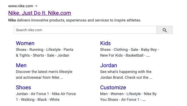Organic Search Result of Nike